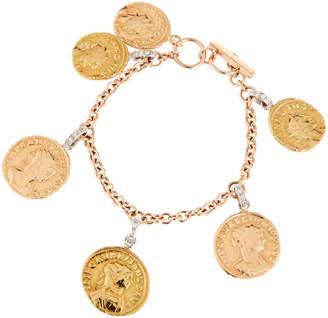Roberto Coin 18k Coin Dangle Bracelet w/ Diamonds