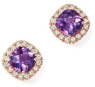 Bloomingdale's Amethyst Cushion Cut and Diamond Stud Earrings in 14K Rose Gold - 100% Exclusive