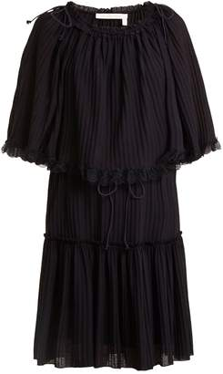See by Chloe Lace-trimmed ribbed-knit dress