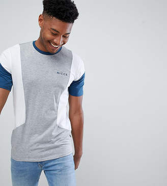 Nicce London paneled t-shirt in gray exclusive to ASOS