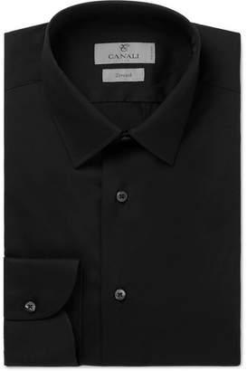 Canali Black Slim-Fit Stretch Cotton-Blend Poplin Shirt - Black