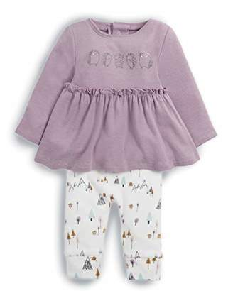 Mamas and Papas Baby Girls' 2piece Frill Top and Legging Clothing Set, Pink (Pink Slgp), (Size: New Born) Pack of 2