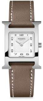 Hermes Heure H Leather Strap Watch