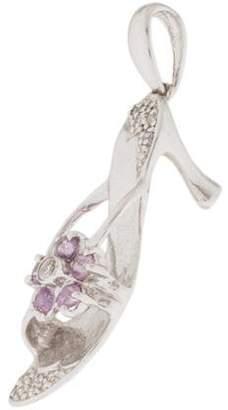 14K Pink Sapphire & Diamond Shoe Pendant
