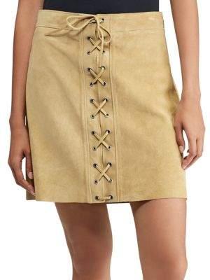 Polo Ralph Lauren Lace-Up Suede Mini Skirt