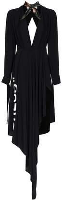 Off-White Deep V-neck asymmetric scarf dress