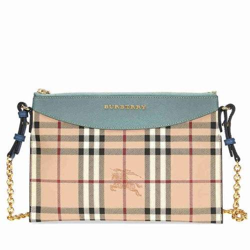 Burberry Haymarket Check and Leather Clutch - Eucalyptus Green / Multi