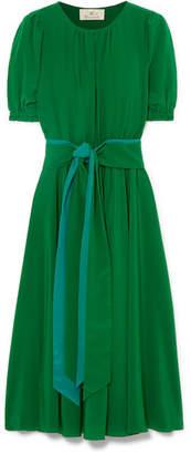ARoss Girl x Soler - Brooke Belted Silk Crepe De Chine Midi Dress - Green