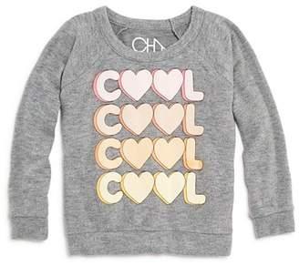 Chaser Girls' Cool Heart Raglan Sweatshirt - Little Kid, Big Kid