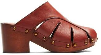 Chloé Quinty Leather Clogs - Womens - Burgundy