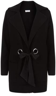 Claudie Pierlot Tie Front Stretch Knit Cardigan