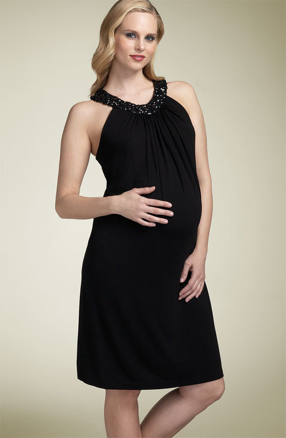 Olian Maternity Beaded Neck Dress