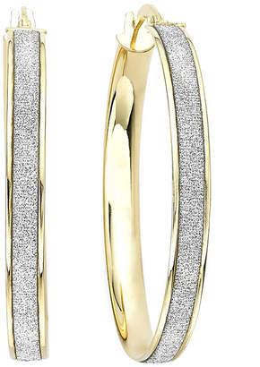 FINE JEWELRY 14K Gold Glitter Hoop Earrings