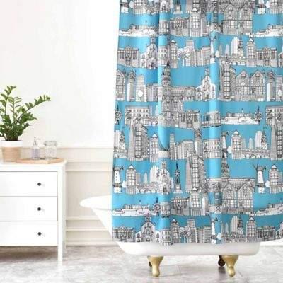Sharon Turner San Francisco Shower Curtain in Teal