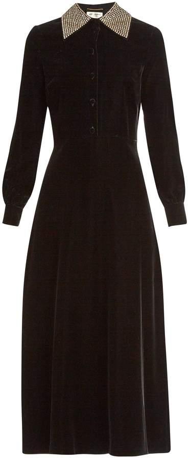 Saint LaurentSAINT LAURENT Embellished-collar velvet midi dress