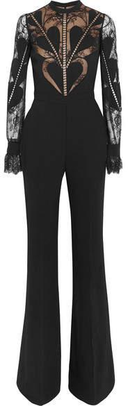 Elie Saab - Lace-paneled Crepe Jumpsuit - Black