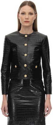 Gucci Croc Embossed Leather Jacket