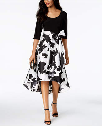 R & M Richards Regular Floral & Solid High-Low Dress