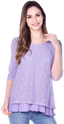 Bearsland Women's Maternity Clothes Lace Nursing Tops Breastfeeding Shirts,Purple,L