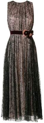 Talbot Runhof belted laminated dress