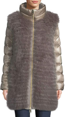 Herno Fox-Fur Puffer Coat w/ Detachable Sleeves