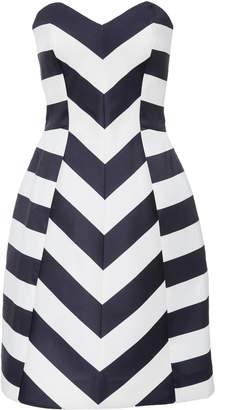 Monique Lhuillier Strapless Striped Satin Cocktail Dress