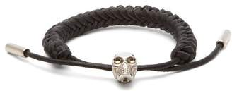 Alexander McQueen Braided Leather Skull Bracelet - Mens - Black