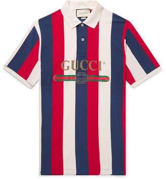 543355f5f Gucci Logo-Print Striped Cotton-Piqué Polo Shirt