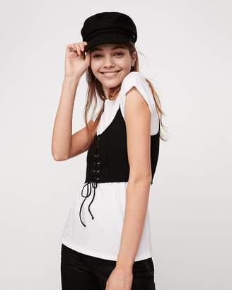 Express Modern Rib Two-In-One Lace-Up Corset Tee