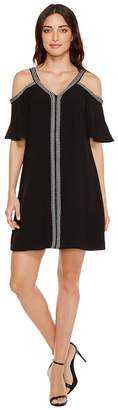 Vince Camuto Short Sleeve Cold-Shouler Dress w/ Ribbon Trim Women's Dress