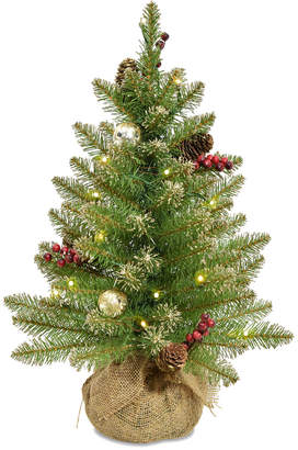 Dunhill National Tree 2' Glittery Gold Fir Tree In Burlap Base
