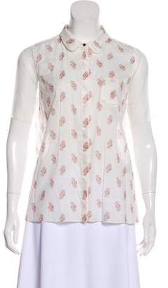 Elizabeth and James Short Sleeve Button-Up Blouse