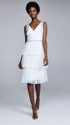 Marchesa Sleeveless Embroidered Cocktail Dress
