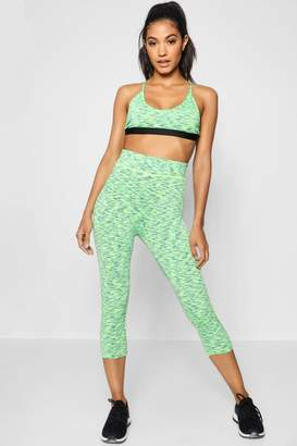 boohoo Lea Fit Spacedye Panel Running Capri Legging