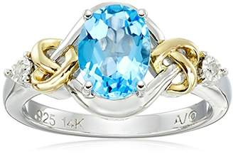 Love Knot Sterling Silver and 14k Yellow Gold Swiss Blue Topaz and Diamond Ring