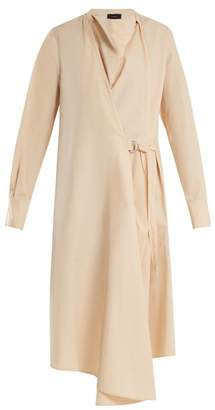 Joseph Arran Cowl Neck Cotton Poplin Wrap Dress - Womens - Nude
