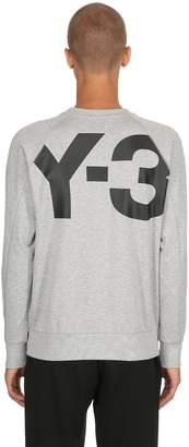 Y-3 Back Logo Printed Cotton Sweatshirt