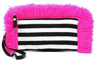 JADEtribe Striped Fringe Clutch