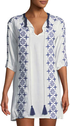 Haute Rogue Embroidered Boho Shift Dress