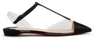 Christian Louboutin Nosy Crystal Embellished Satin Flats - Womens - Black