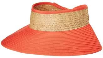 San Diego Hat Company RBV001OS Ribbon Visor w/ Adjustable Raffia Bow Closure Caps