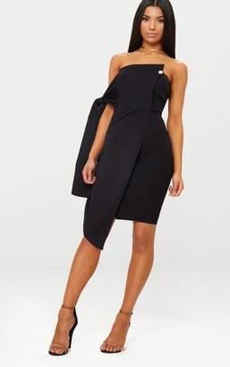 PrettyLittleThing Black Tie Detail Wrap Front Bandeau Midi Dress
