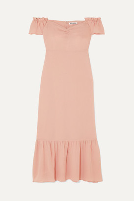 Reformation Butterfly Off-the-shoulder Tiered Crepe Dress - Blush