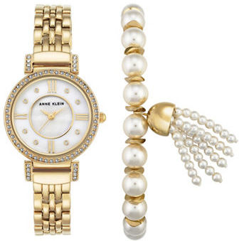 Anne Klein Anne Klein Crystal-Studded Mother-Of-Pearl Watch & Faux Pearl Tassel Bracelet Set