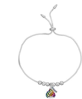 Hershey's Hersheys Sterling Silver Rainbow Crystal Kiss Bolo Bracelet