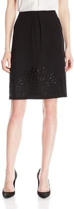 Kasper Women's Embroidery Detail Stretch Crepe Skirt