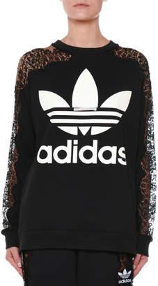Stella McCartney Crewneck Long-Sleeve Pullover Sweatshirt with Lace Inset
