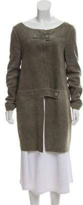 Chloé Leather Collarless Coat