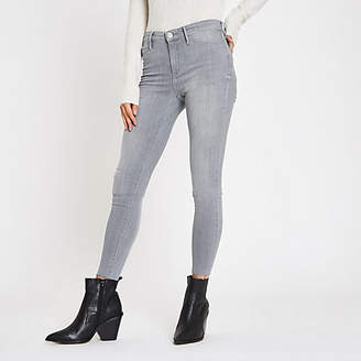 River Island Grey mid rise raw hem Molly jeggings