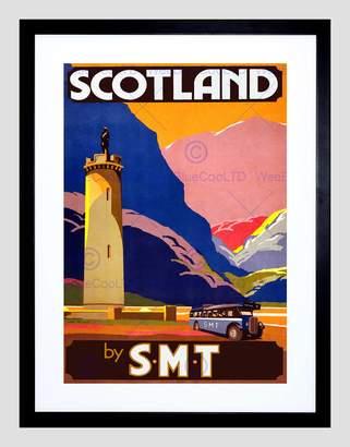 Coach Wee Blue Coo Travel Glen Finnan Monument Highland Scotland Bus UK Framed Art Print